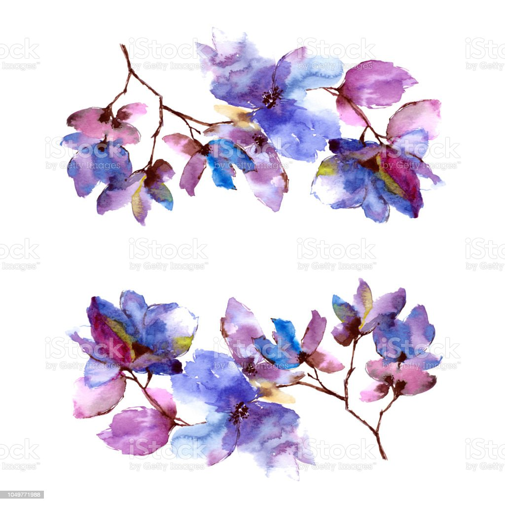 Watercolor Blue Flowers Floral Frame Drawing Flowers Decor Greeting
