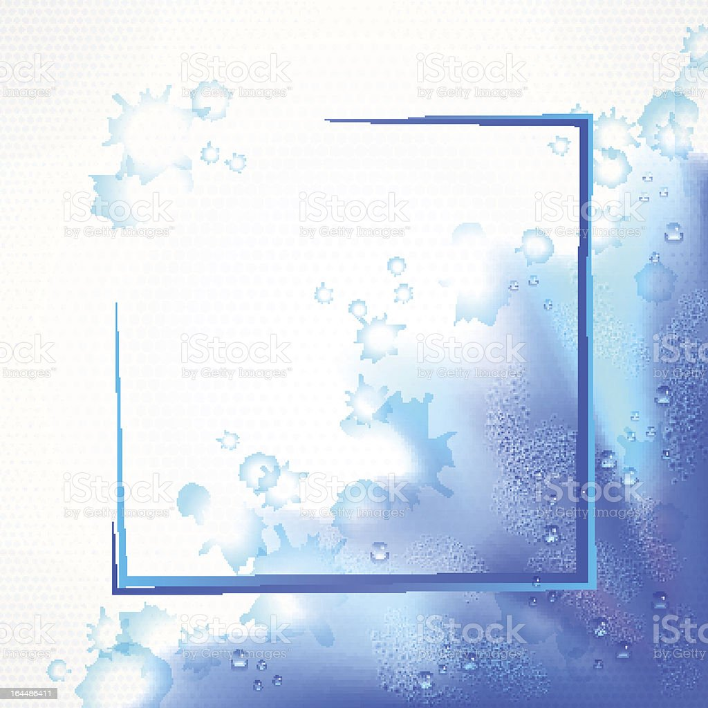 Watercolor blue frame border background with drops royalty-free stock vector art