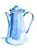 istock Watercolor blue teapot isolated on white illustration. 1258126643