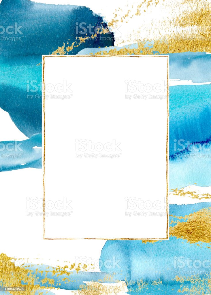Watercolor Blue Vertical Abstract Card Hand Painted