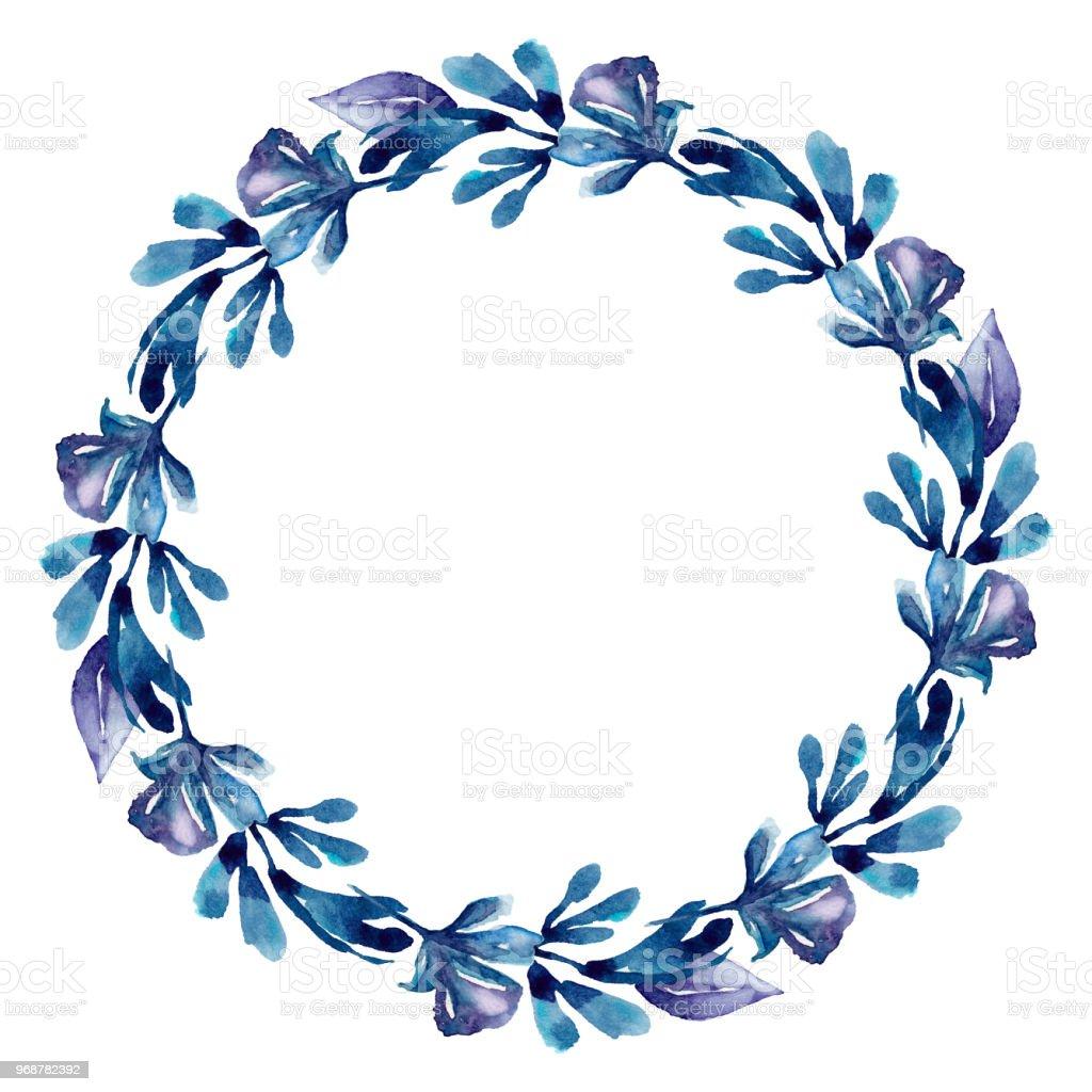 Aquarell Blau Kranz Rahmen Botanische Blumen Clipart Stock Vektor ...