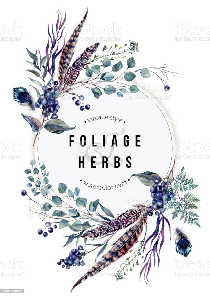 Watercolor Boho Card with Foliage and Feathers vector art illustration