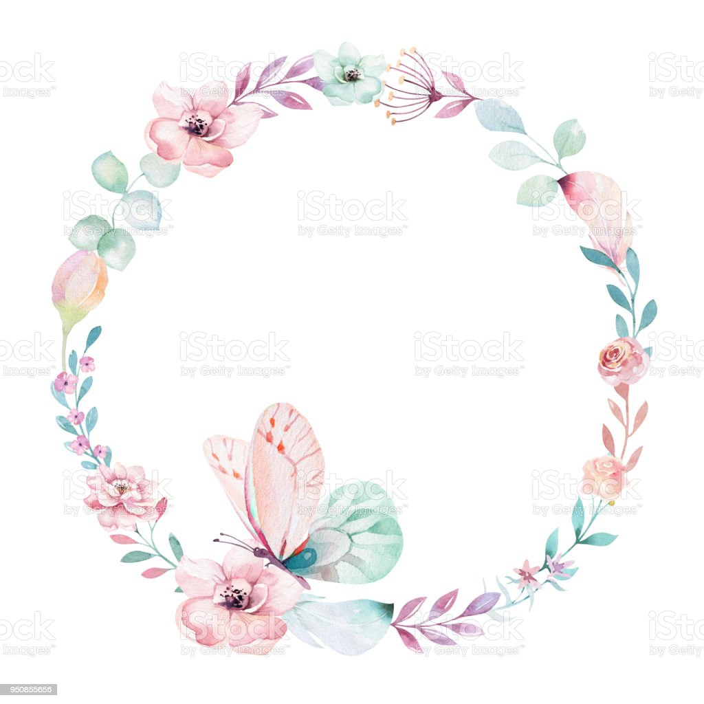 Watercolor Boho Floral Wreath Bohemian Natural Frame Leaves Feathers ...