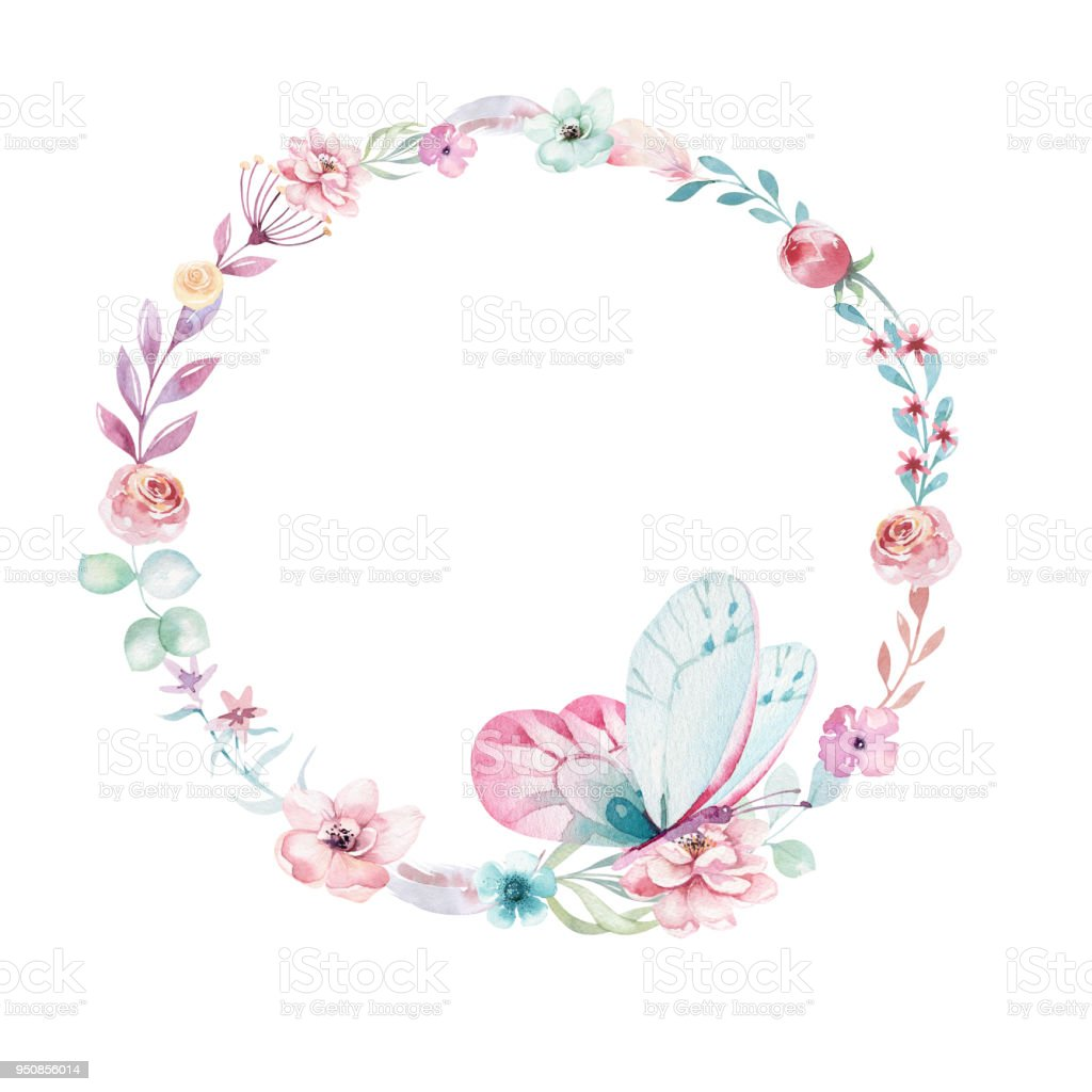Watercolor Boho Floral Wreath Bohemian Natural Frame Leaves Feathers Flowers Isolated