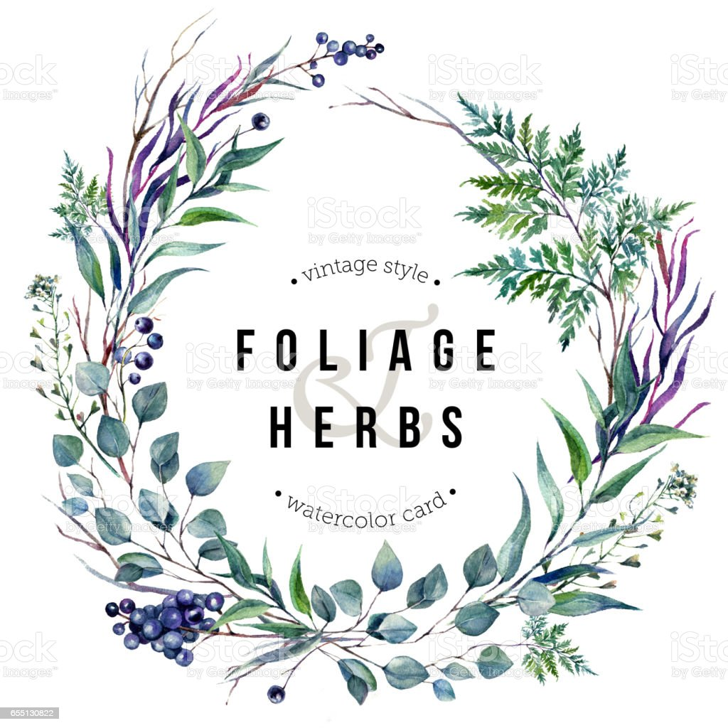Watercolor Boho Foliafe Wreath vector art illustration