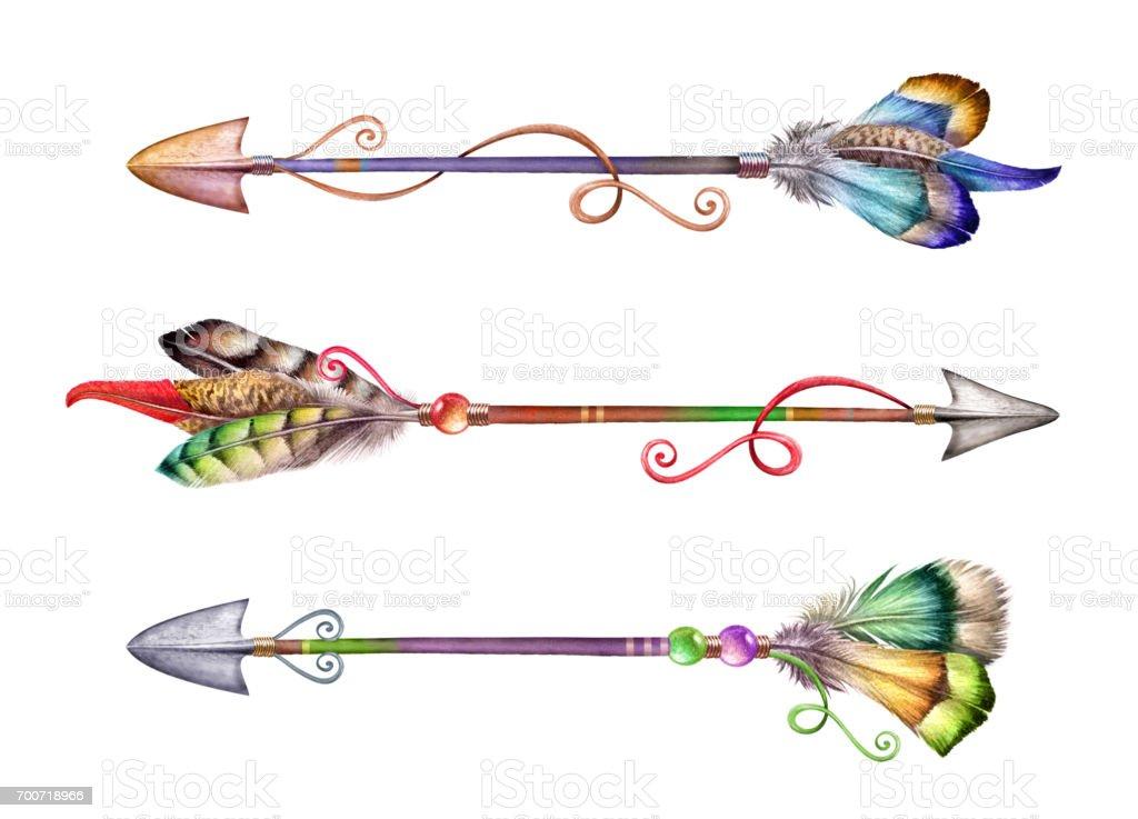 watercolor boho illustration, tribal arrows, feathers, spring, rustic, native decoration vector art illustration