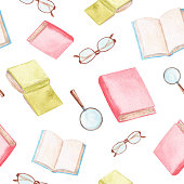 istock watercolor book and glasses seamless pattern on white background 1270124720