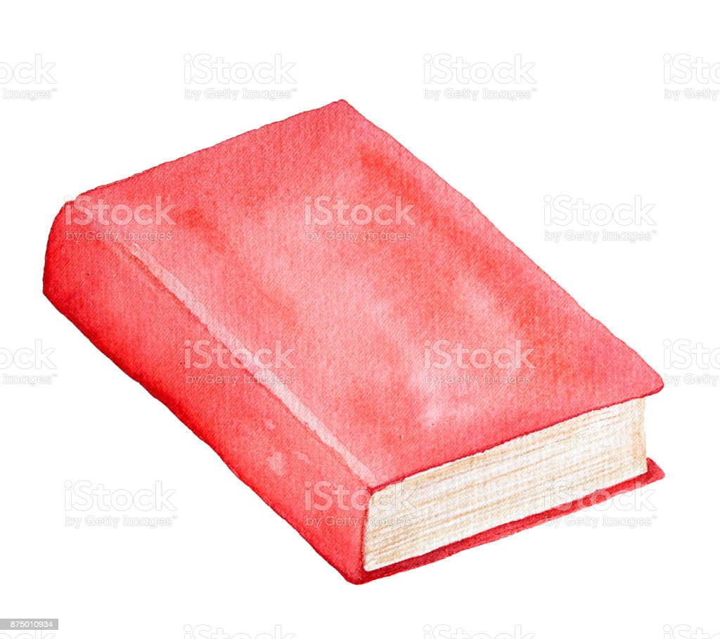 Watercolor Book Illustration Red Cover Closed Clean Backbone Beige ...