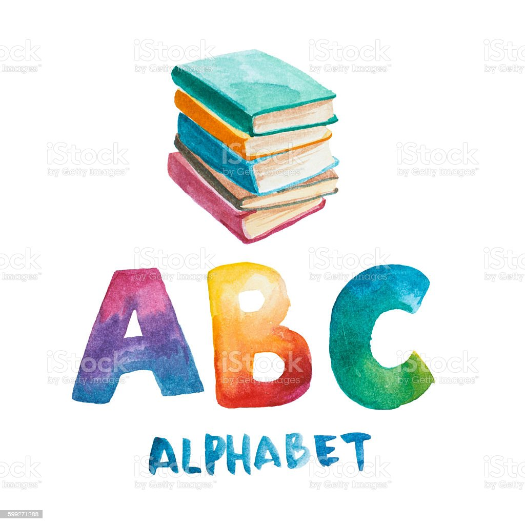Watercolor Books And Rainbow Letter Stock Vector Art & More Images ...