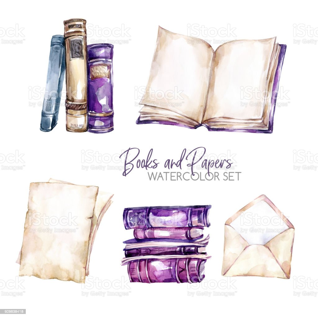 Watercolor borders set with old books, envelope and paper sheets. Original hand drawn illustration in violet shades. School design. ClipArt elements. Scrapbooking collection vector art illustration