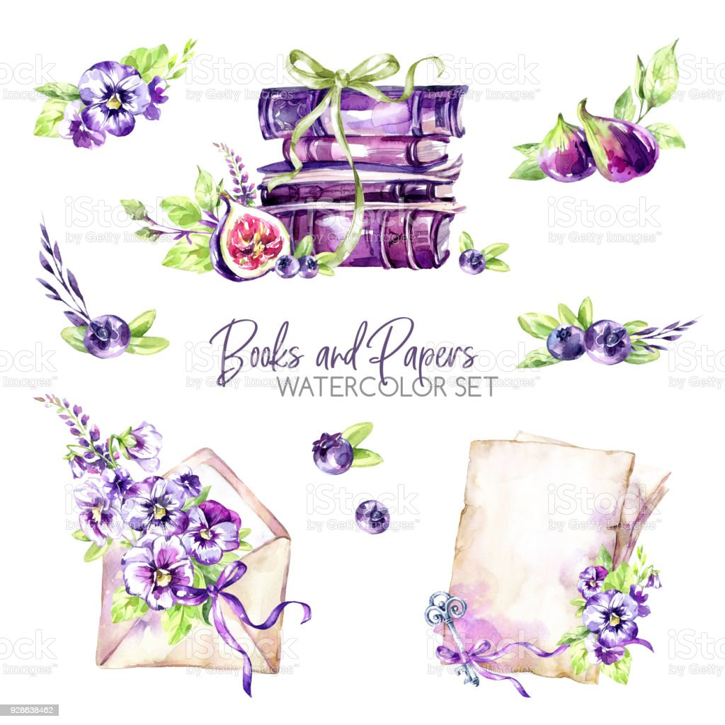 Watercolor borders set with old books envelope paper flowers figs watercolor borders set with old books envelope paper flowers figs and berries mightylinksfo