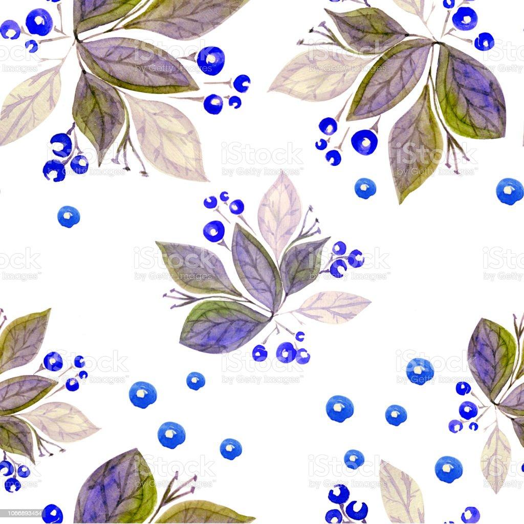 Acuarela botánica patrón - ilustración de arte vectorial