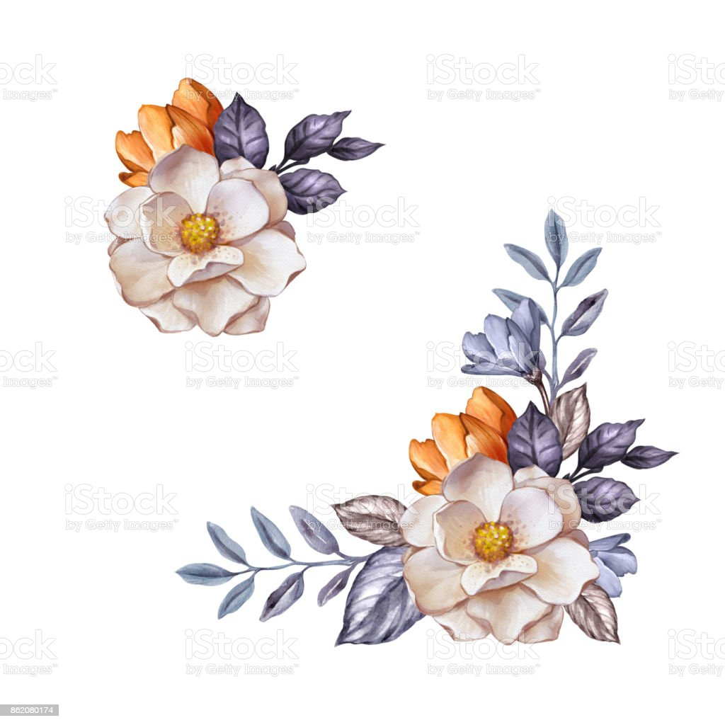 Watercolor Botanical Illustration Autumn Flowers Dried Leaves Corner