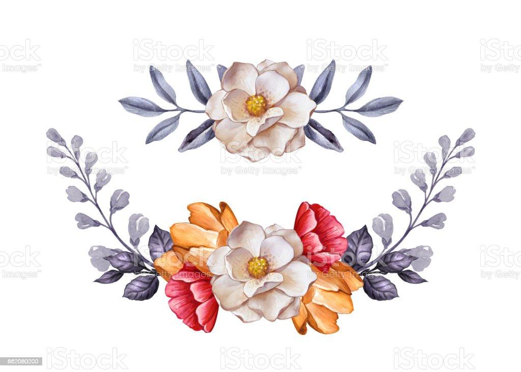 Ilustración de Hojas De Acuarela Ilustración Botánica Flores Otoño ...