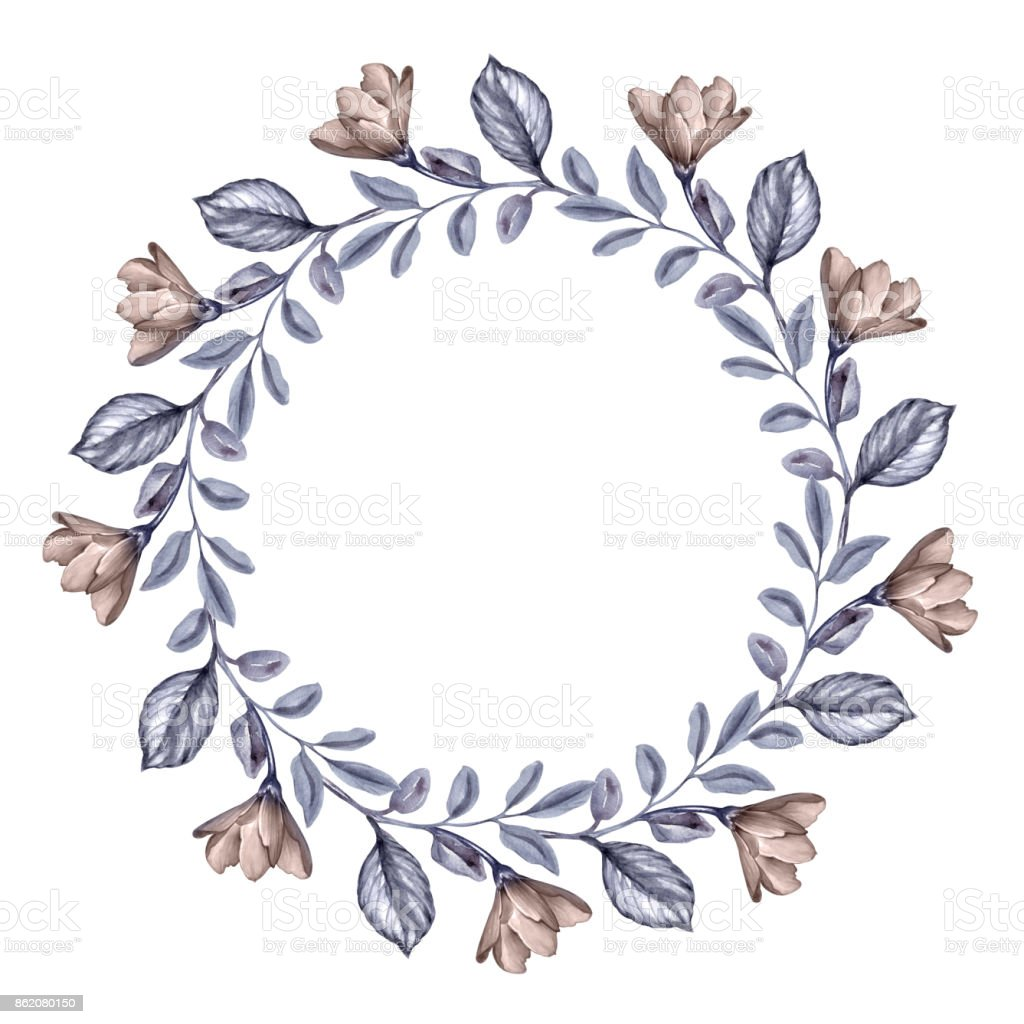 Getrocknete Blüten aquarell botanische illustration runde blumenkranz herbst