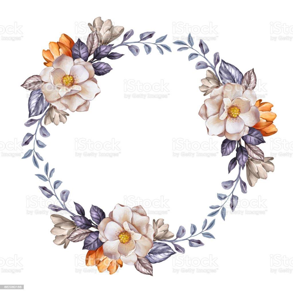 Watercolor Botanical Illustration Wedding Floral Wreath Autumn