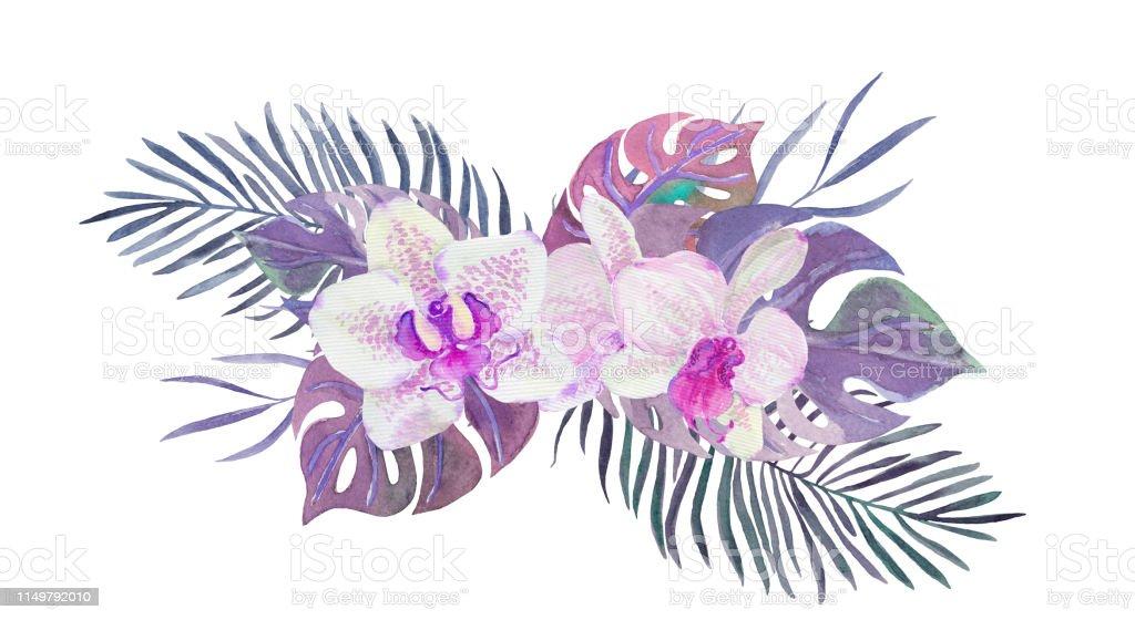 Ilustración De Bouqet De Acuarela Con Orquídeas Y Hojas