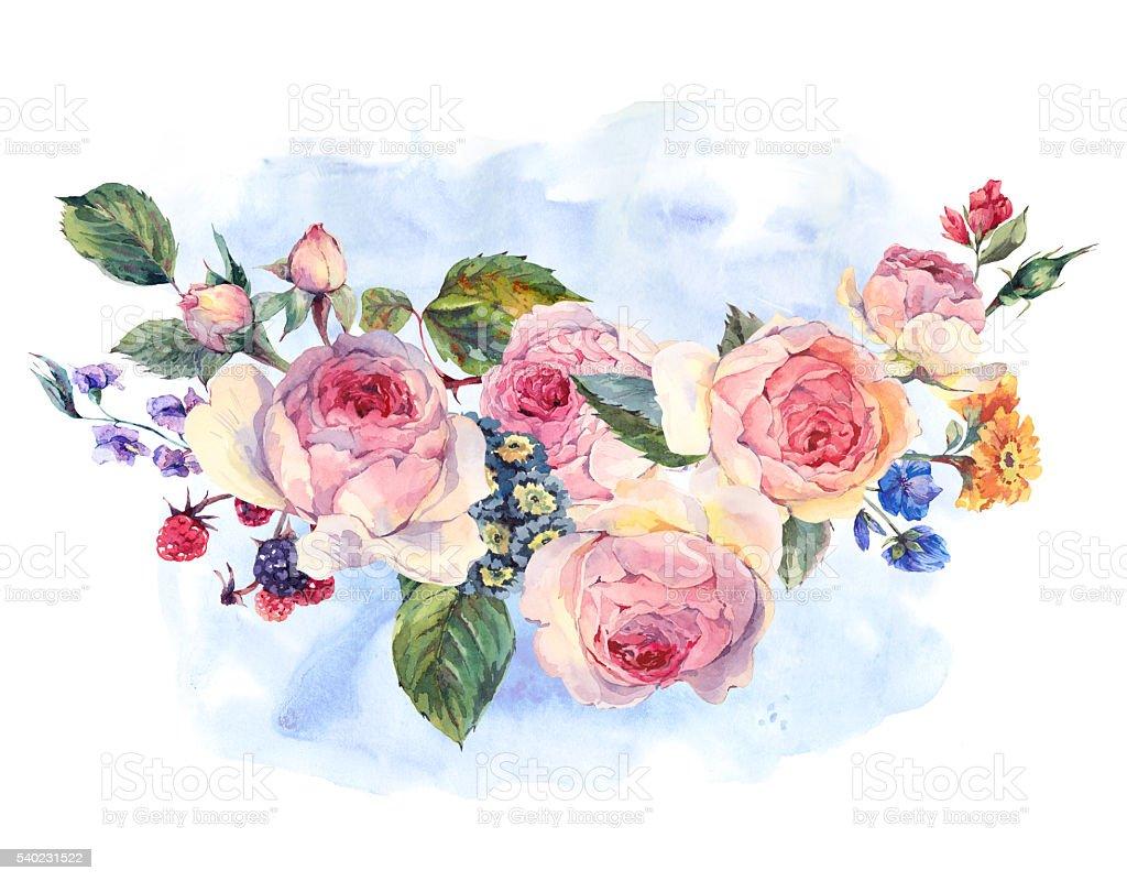 Mazzo Di Fiori Un Inglese.Acquerello Mazzo Di Rose E Fiori Selvatici Inglese Immagini