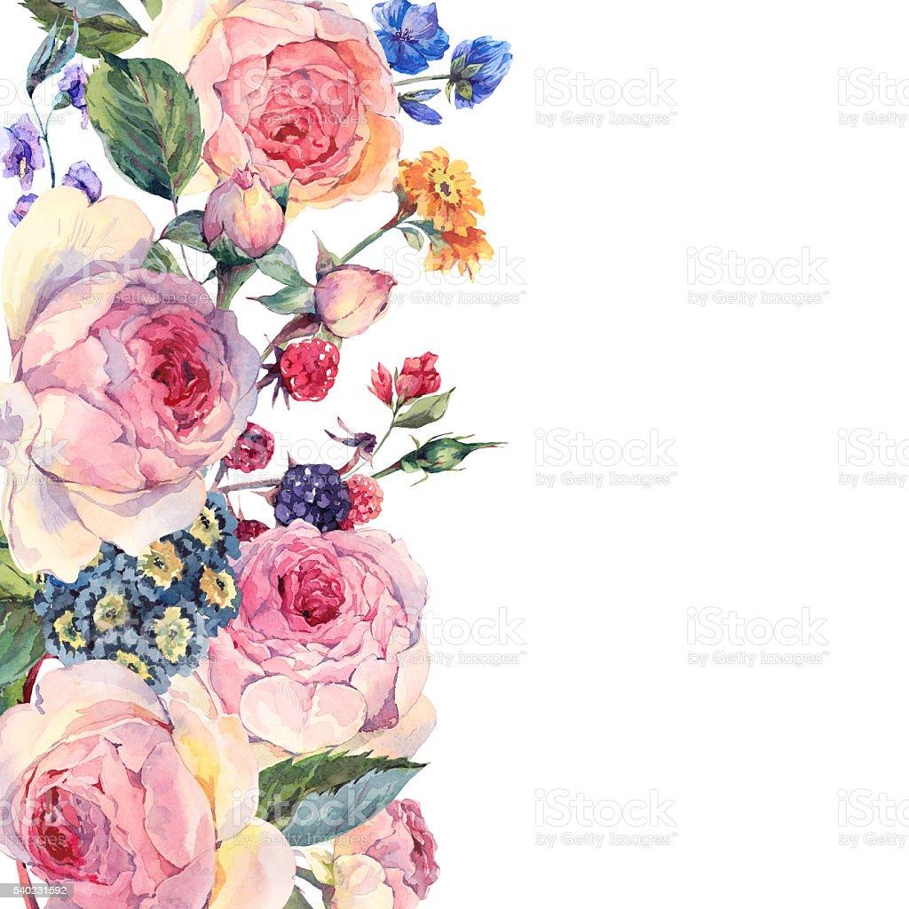 aquarelle bouquet de roses et fleurs sauvages anglais cliparts vectoriels et plus d 39 images de. Black Bedroom Furniture Sets. Home Design Ideas
