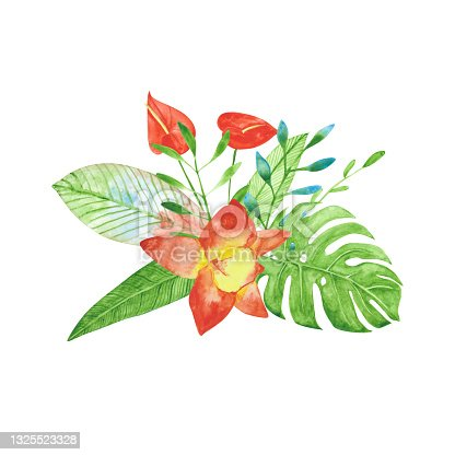 istock Watercolor bouquet of exotic flowers isolated on a white background. Red and yellow orchid, monstera, and anthurium for a wedding invitation and more. Hand-drawn tropical floral illustration. 1325523328