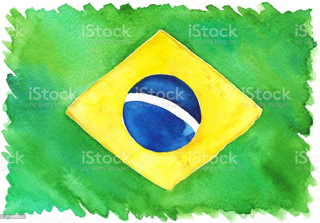891bc5bdf94 Watercolor Brasil Brazilian national yellow green blue flag - Illustration .