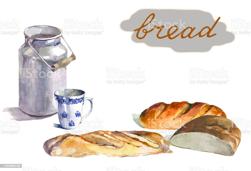 Watercolor Bread And Milk Can On White Background Illustration Stock Illustration Download Image Now Istock