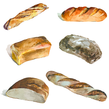 Watercolor bread isolated on white set.