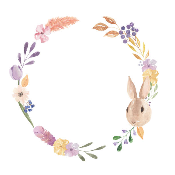 Royalty Free Easter Wreath With Spring Flowers Clip Art Vector