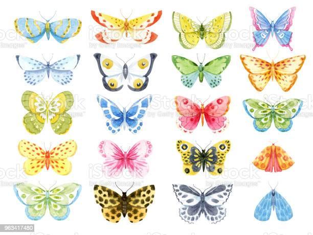Zestaw Motyli Akwareli - Stockowe grafiki wektorowe i więcej obrazów Akwarela