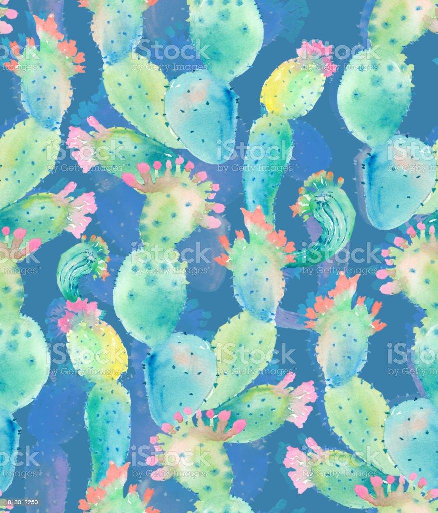 Cactus Aquarelle Motif Sans Couture Vecteurs Libres De Droits Et