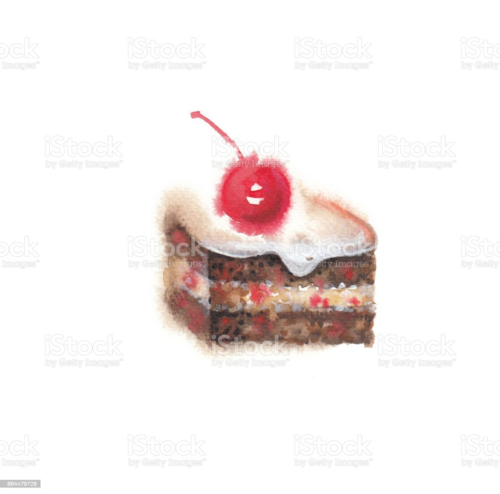Watercolor cake vector art illustration