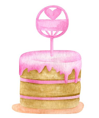 Watercolor cake with topper. Hand drawn cute biscuit Birthday cake with pink glaze