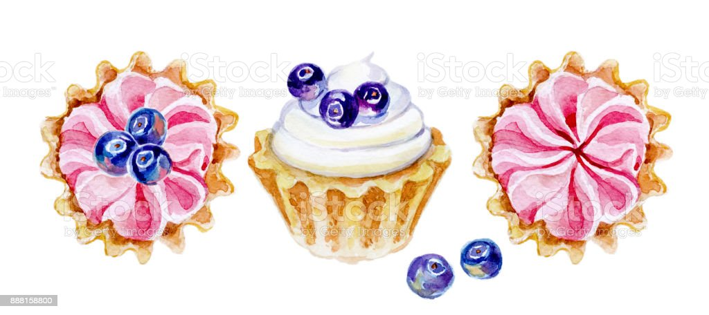 watercolor cakes isolated on white background vector art illustration