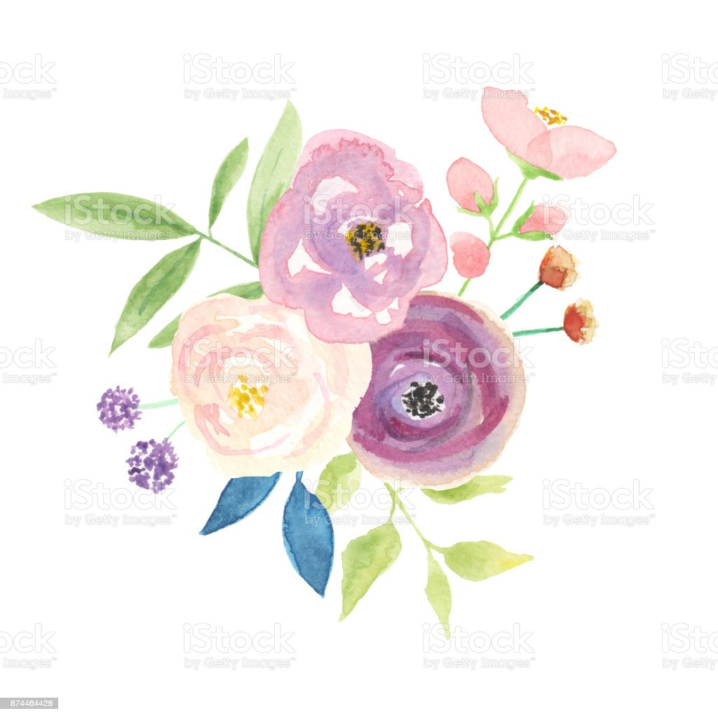 Watercolor Candy Flower Bouquet Arrangements Floral Berries Leaves
