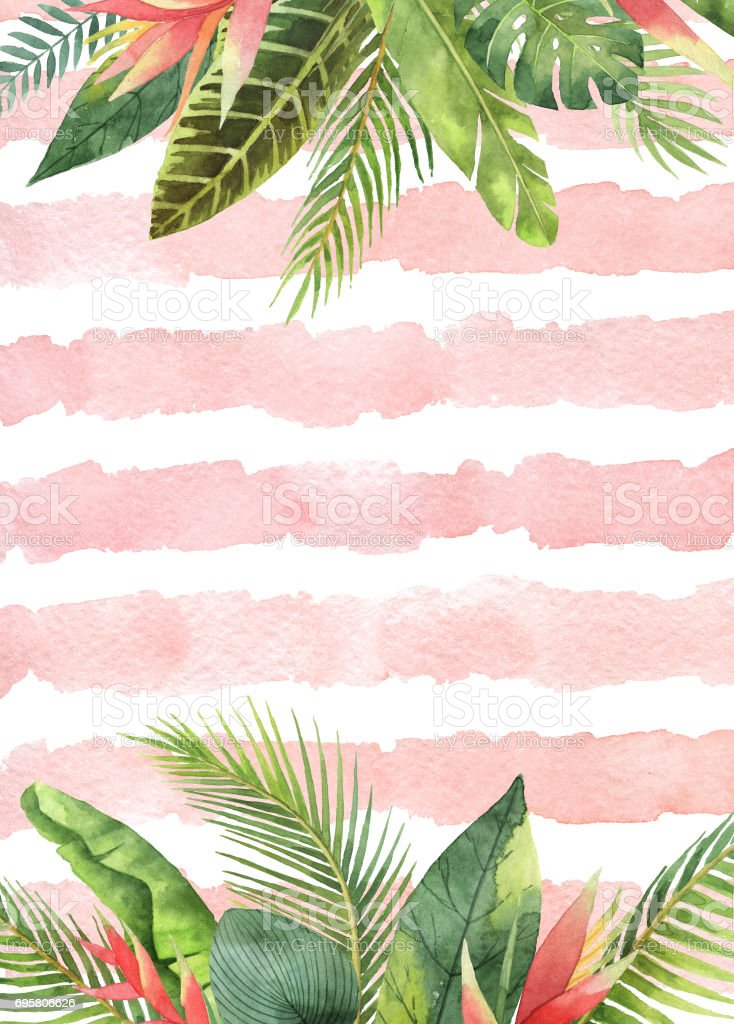 Watercolor card tropical leaves and branches on the background of stripes. vector art illustration