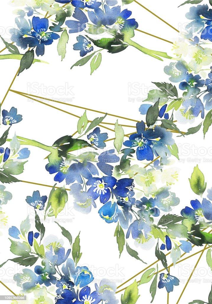 Carte Aquarelle Avec Fleurs Bleues Bouquet Pour Les