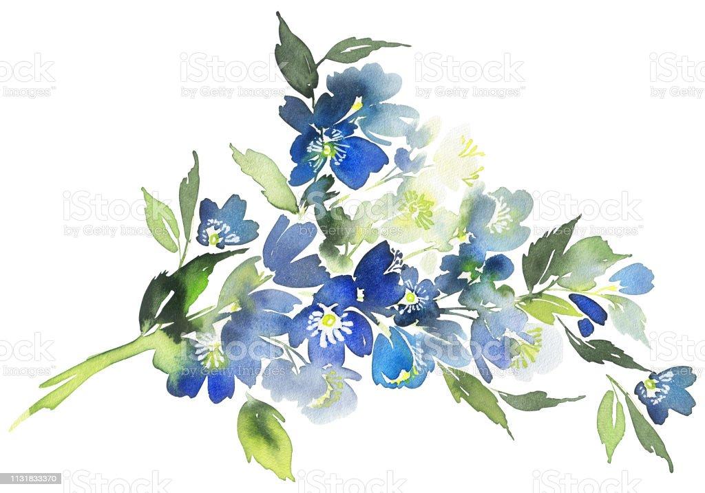 Carte Aquarelle Avec Des Fleurs Bleues Bouquet Pour Les
