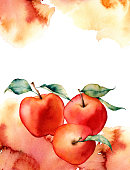 Watercolor card with splash and apple on white background.The color splashing in the paper.It is a hand drawn. Illustration for design, print or background