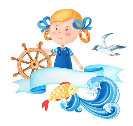 Watercolor cartoon cute sailor girl in a sea suit.Little captain at the steering wheel.Watercolour marine illustration