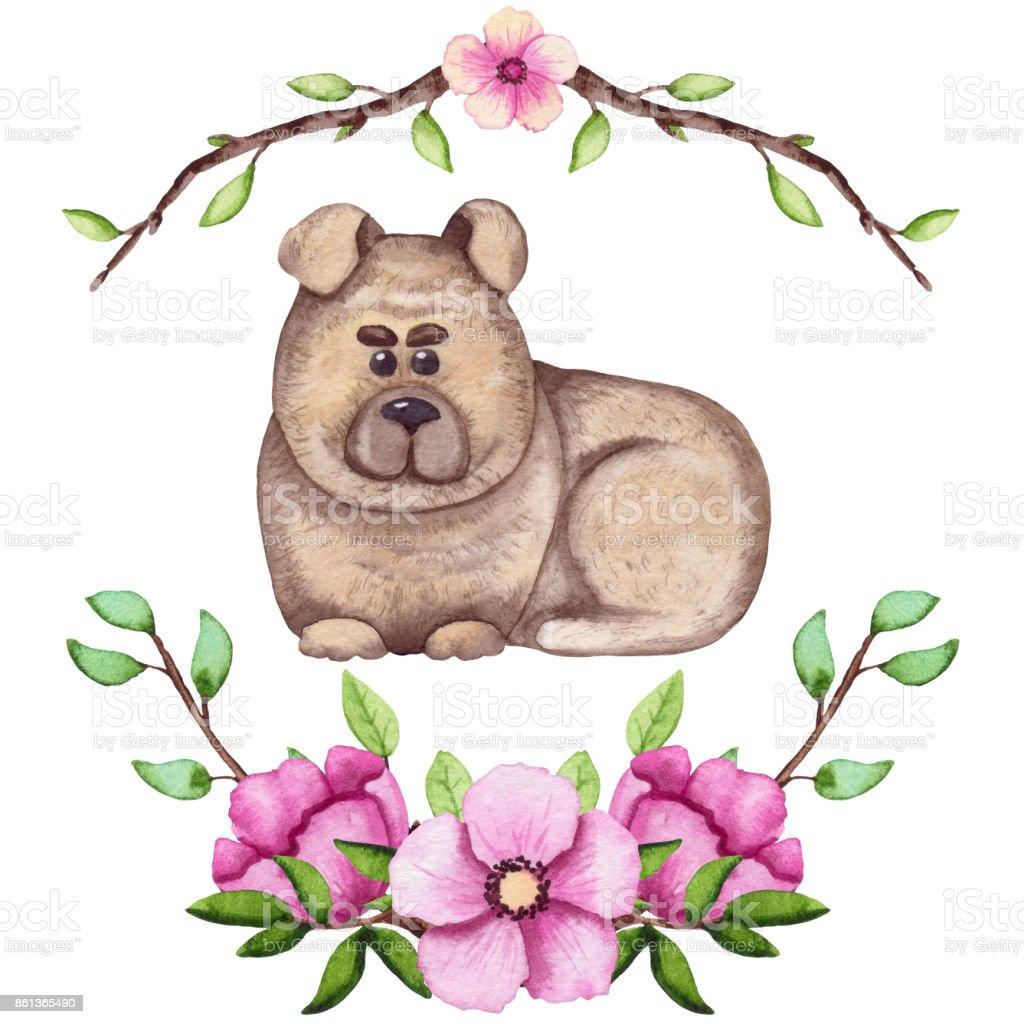 Ilustracion De Perro De Dibujos Animados Acuarela Y Flores Frescas
