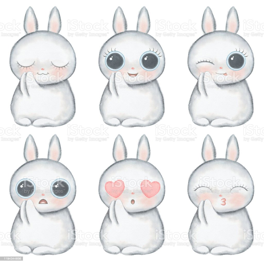Watercolor Cartoon Kawaii Funny Bunny With Different Emotions Stock Illustration Download Image Now Istock