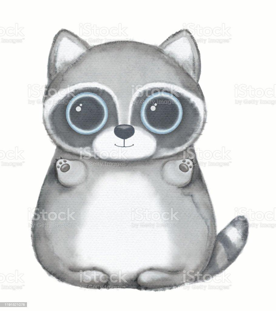 Watercolor Cartoon Kawaii Funny Raccoon Stock Illustration