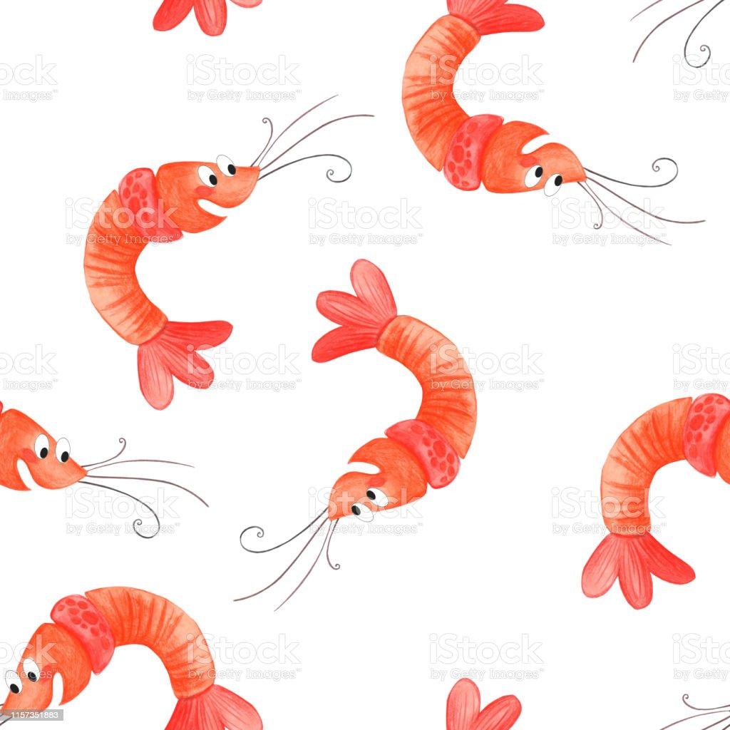 Watercolor  cartoon shrimp.  Seamless pattern shrimp, cartoon illustration of beach summer background. Watercolor  cartoon shrimp.  Seamless pattern shrimp, cartoon illustration of beach summer background. Abstract stock illustration