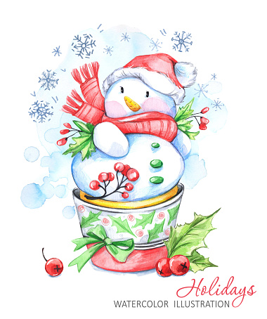 Watercolor cartoon Snowman in the hat and scarf. Winter holidays illustration