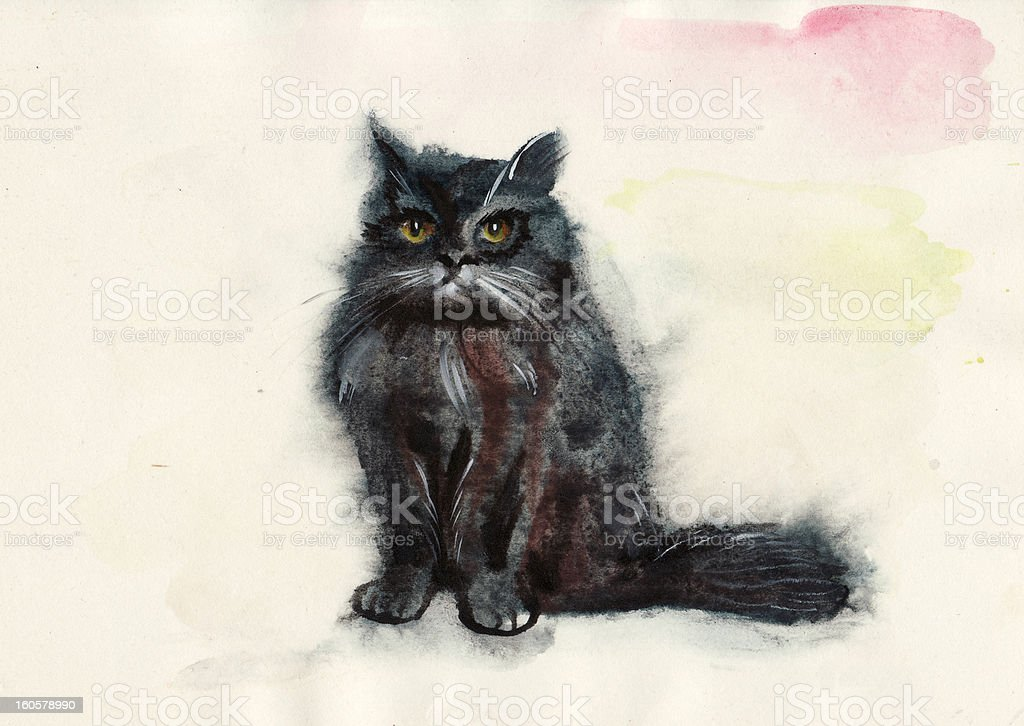 Watercolor cat royalty-free watercolor cat stock illustration - download image now
