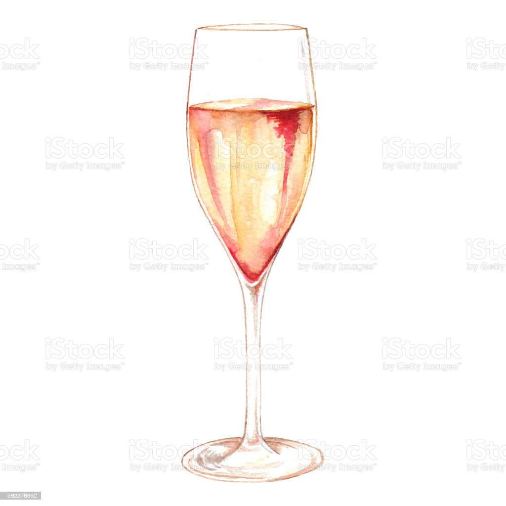 Watercolor champagne sparkling wine glass alcohol isolated for Painting while drinking wine