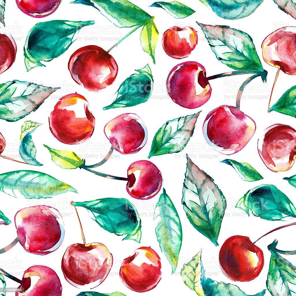 Watercolor cherry vector art illustration