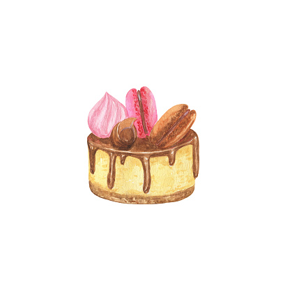 Watercolor chocolate cake decorated with cream, chocolate chips and colorful macaroons French traditional dessert, simple hand drawn illustration