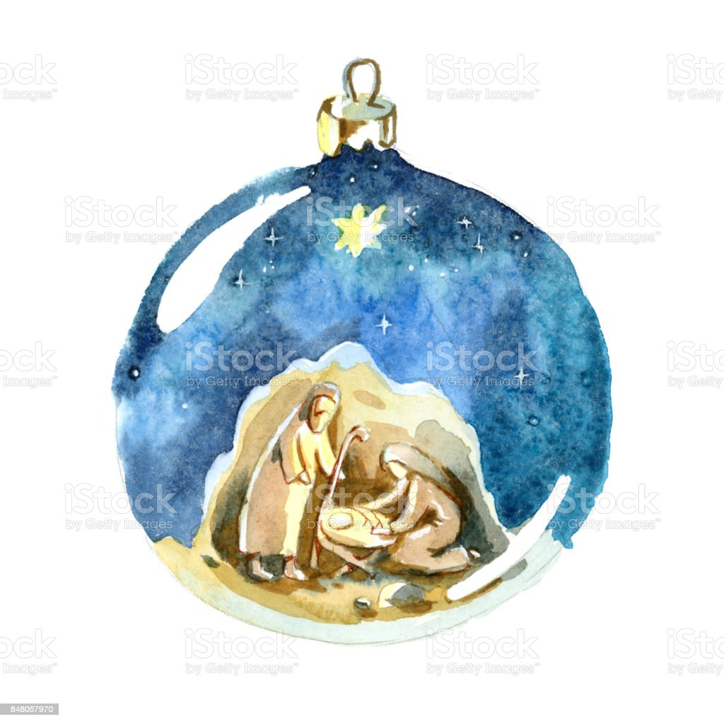 Watercolor Christmas ball. Christmas decorations.  Holy family, Joseph, Mary and newborn Jesus drawing in Christmas ball. vector art illustration