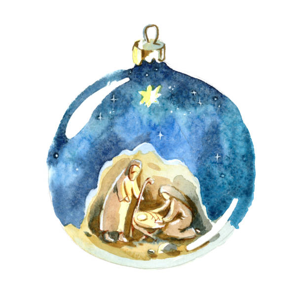 Watercolor Christmas ball. Christmas decorations.  Holy family, Joseph, Mary and newborn Jesus drawing in Christmas ball. Watercolor Christmas ball. Christmas decorations.  Holy family, Joseph, Mary and newborn Jesus drawing in Christmas ball. christmas family stock illustrations